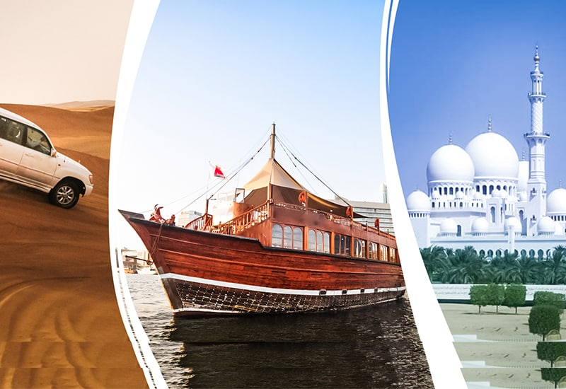 Abu Dhabi + Dubai City Tour + Desert Safari + Marina Dhow Cruise Dinner